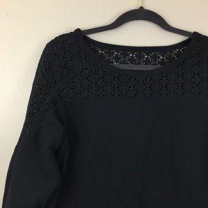 Express Black Sweatshirt with Lace Detailing Large